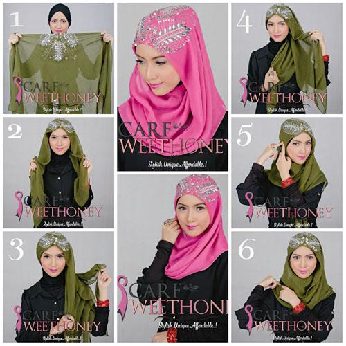 cara memakai hijab segiempat 2