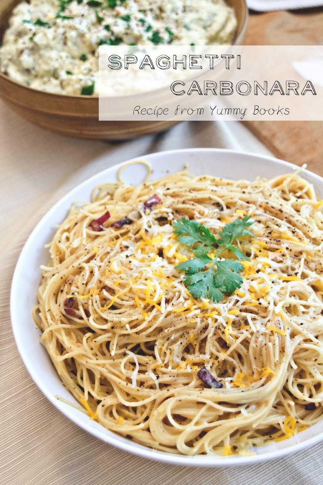 Spaghetti carbonara, yummy books, food for the goldfinch