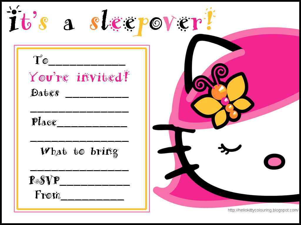 invitations for sleepover party hello kitty slumber party invites