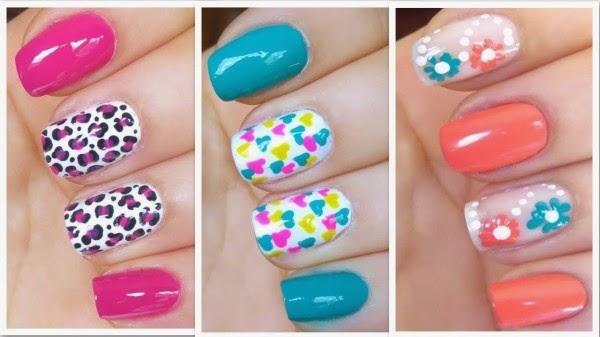 uñas de un solo color decoradas