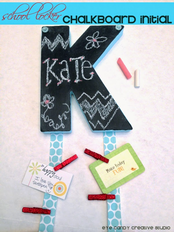 locker decor, chalkboard craft, school locker, chalkboard initial