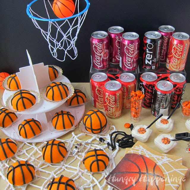 Score big by serving Mini Cherry Coke Basketball Cakes at your  NCAA® March Madness Party. Recipe at HungryHappenings.com