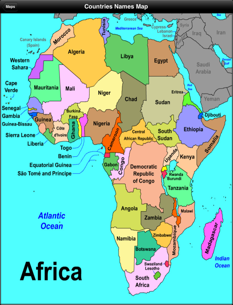 Bilingual Social Science African Countries Map