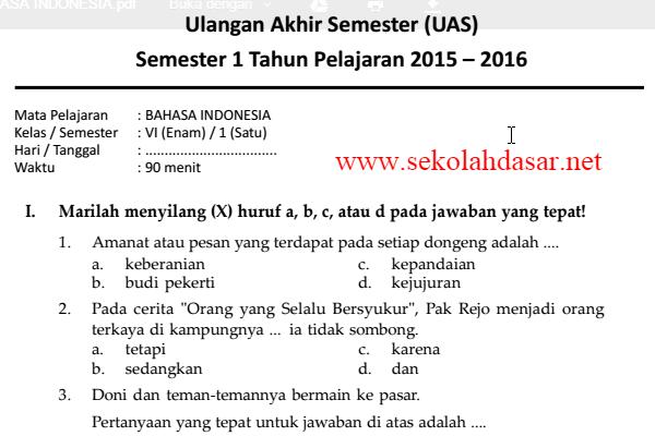 Soal Uas Bahasa Indonesia Semester 1 Kelas 6 Sd