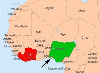 Nigeria is not near Liberia or Ivory Coast
