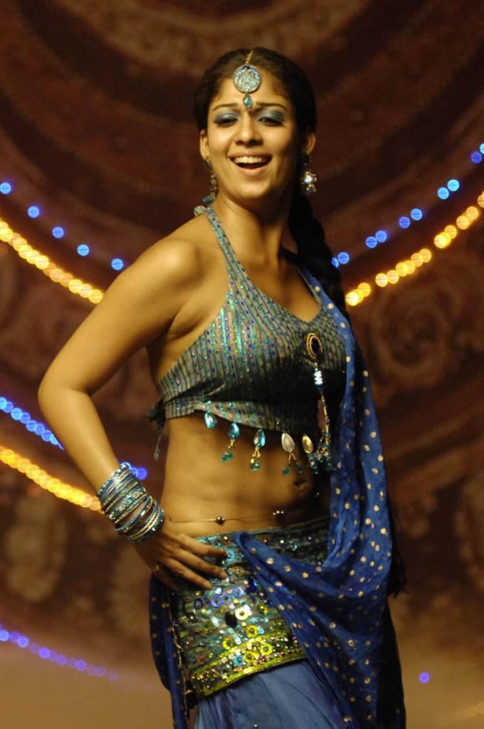 Hot Sexy Nayanthara Naval Show In Blue Bikini And Saree