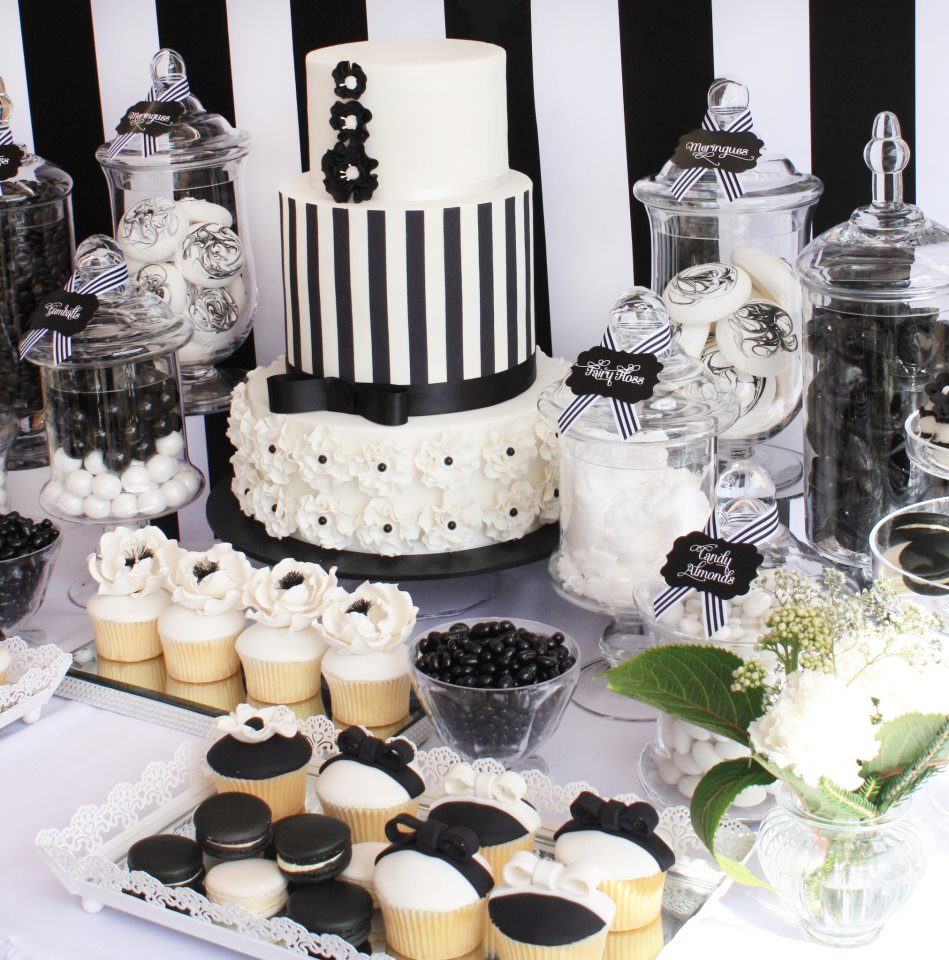 little big company the blog black and white chic dessert table by life is sweet candy buffets. Black Bedroom Furniture Sets. Home Design Ideas