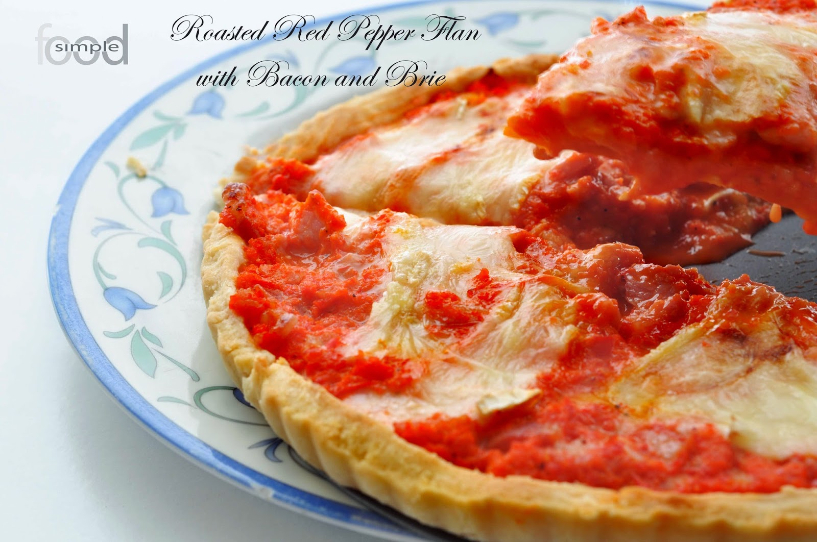 Roasted Red Pepper Flan with Bacon and Brie ~ Simple Food