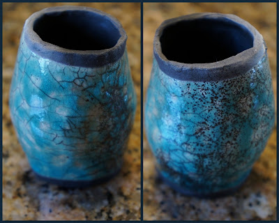 Raku pottery item for garden totem.