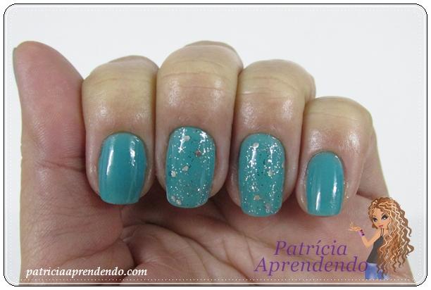 Esmalte verde e glitter brilhante