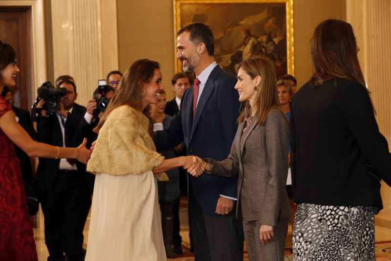 Queen Letizia of Spain meets waterpolo and swimming pool teams members that joined the European Championships at Zarzuela Palace