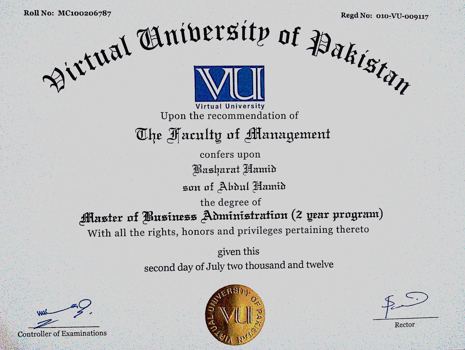 Virtual University of Pakistan - Master of Businbess Administration