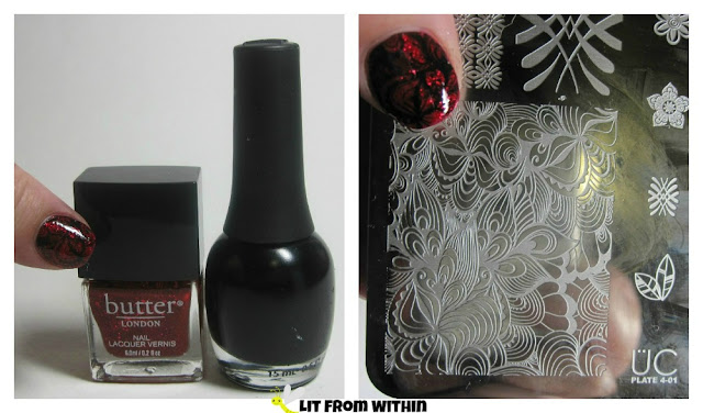 Bottle shot:  Butter London O.T.T. and Finger Paints Black Expressionism; also the stamp I used from UC 4-01.