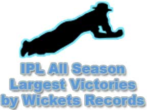 IPL All Season Largest Victories by Wickets Records IPL Team Records