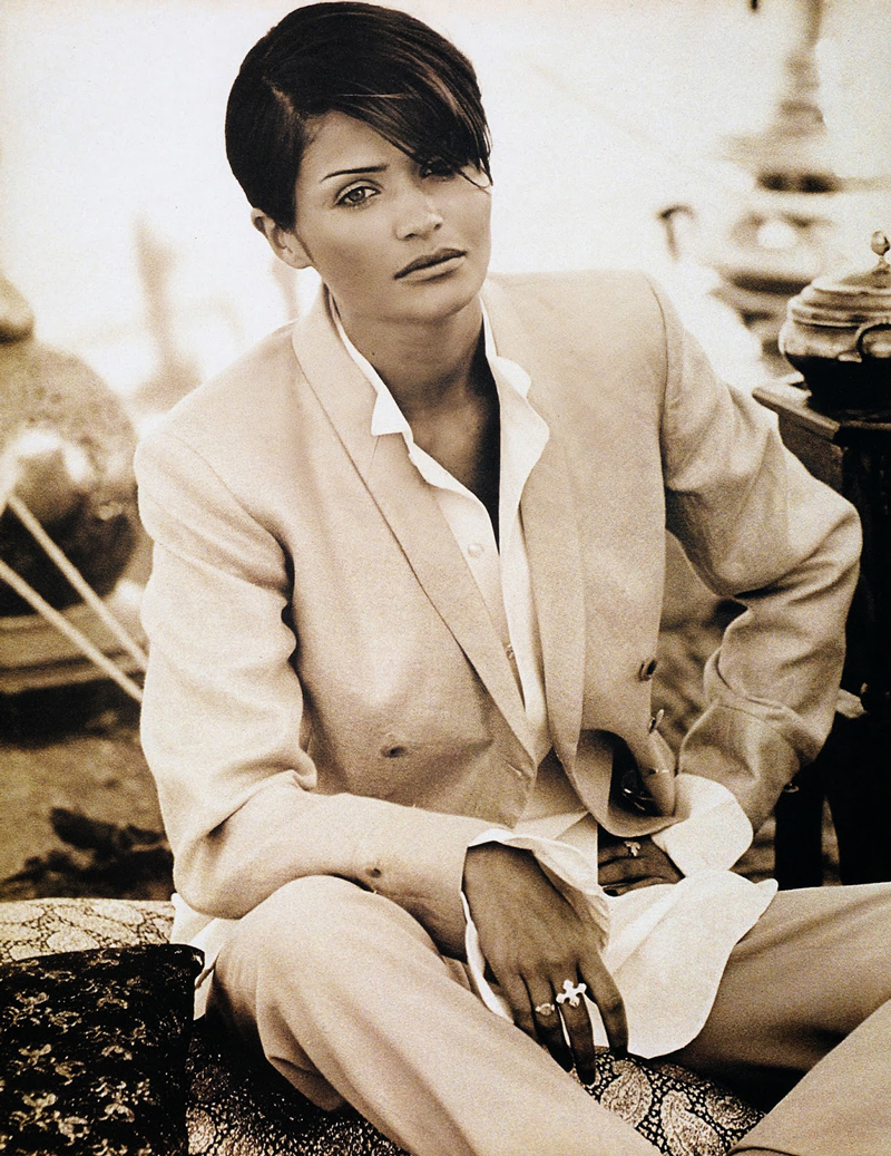 Helena Christensen in Giorgio Armani photo by Jacques Olivar in Marie Claire August 1993 editorial