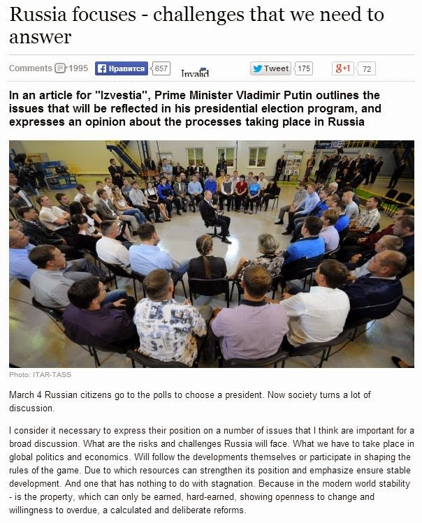 Linked article from Putin's first tweet