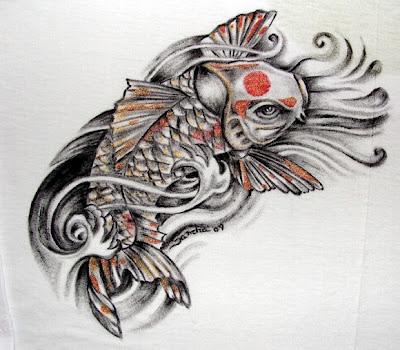 Tatuagem com Carpa detalhes laranja