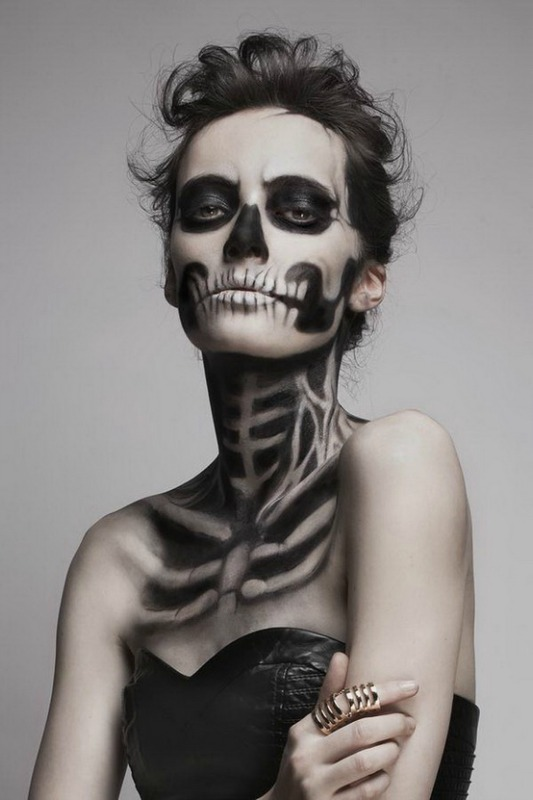 This skull makeup goes even more anatomical, though still stylized. I ...