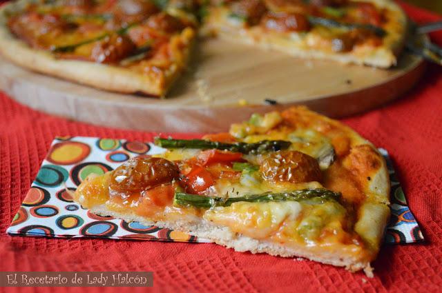 El Recetario de Lady Halcon: Pizza casera vegetariana con espárragos