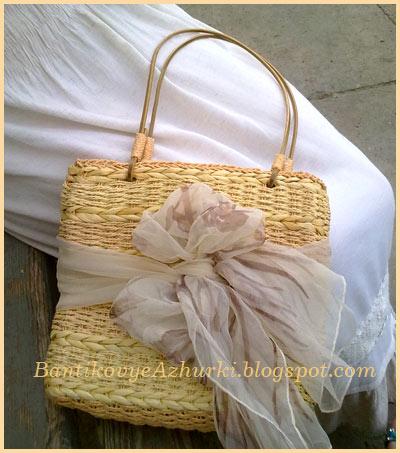 летняя сумочка плетенка с косынкой