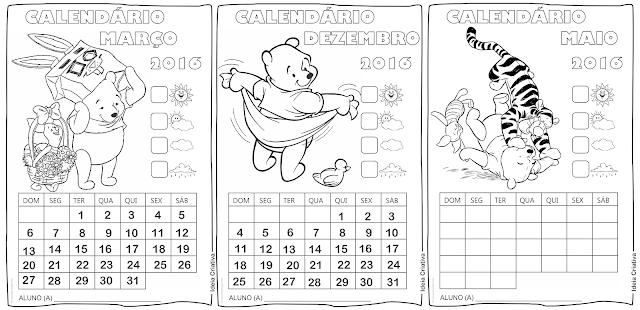 22 lindos calendários escolares ilustrados com Pooh e seus amigos