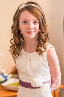 flowergirl with curls and headband in scotland for a wedding