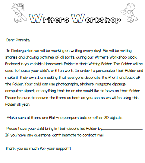 Writers Workshop Parent Letter
