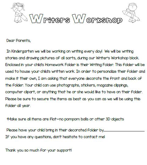 Writers Workshop Parent Letter