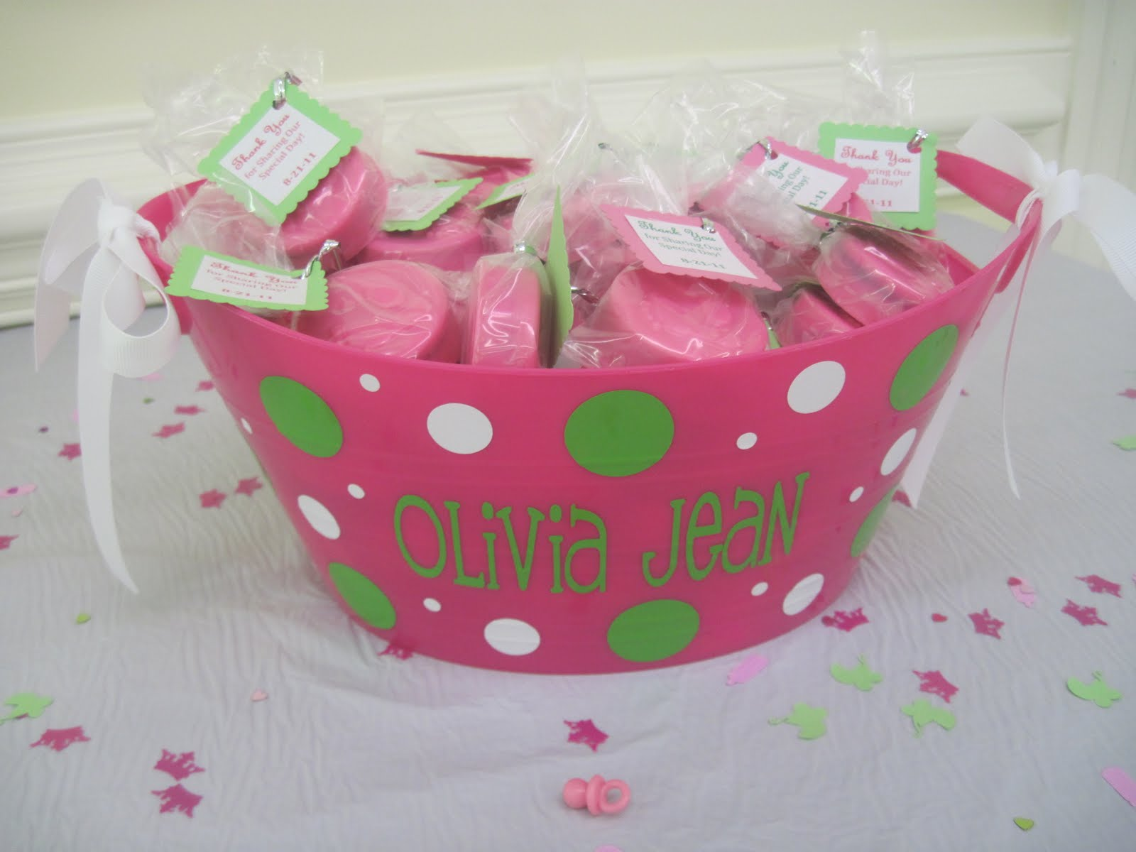 Storybook bakery blog pink green baby shower dessert table - Pink baby shower table decorations ...