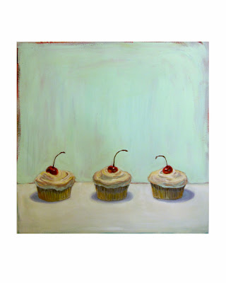 painting of three cupcakes with cherries on top