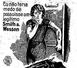 Propaganda das Armas Smith & Wesson nos anos 20.