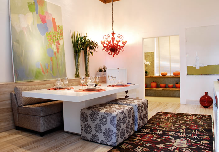 Sala De Jantar Pequena E Barata ~  pode separar os móveis e ficar comuma mesa com puffs e um sofá