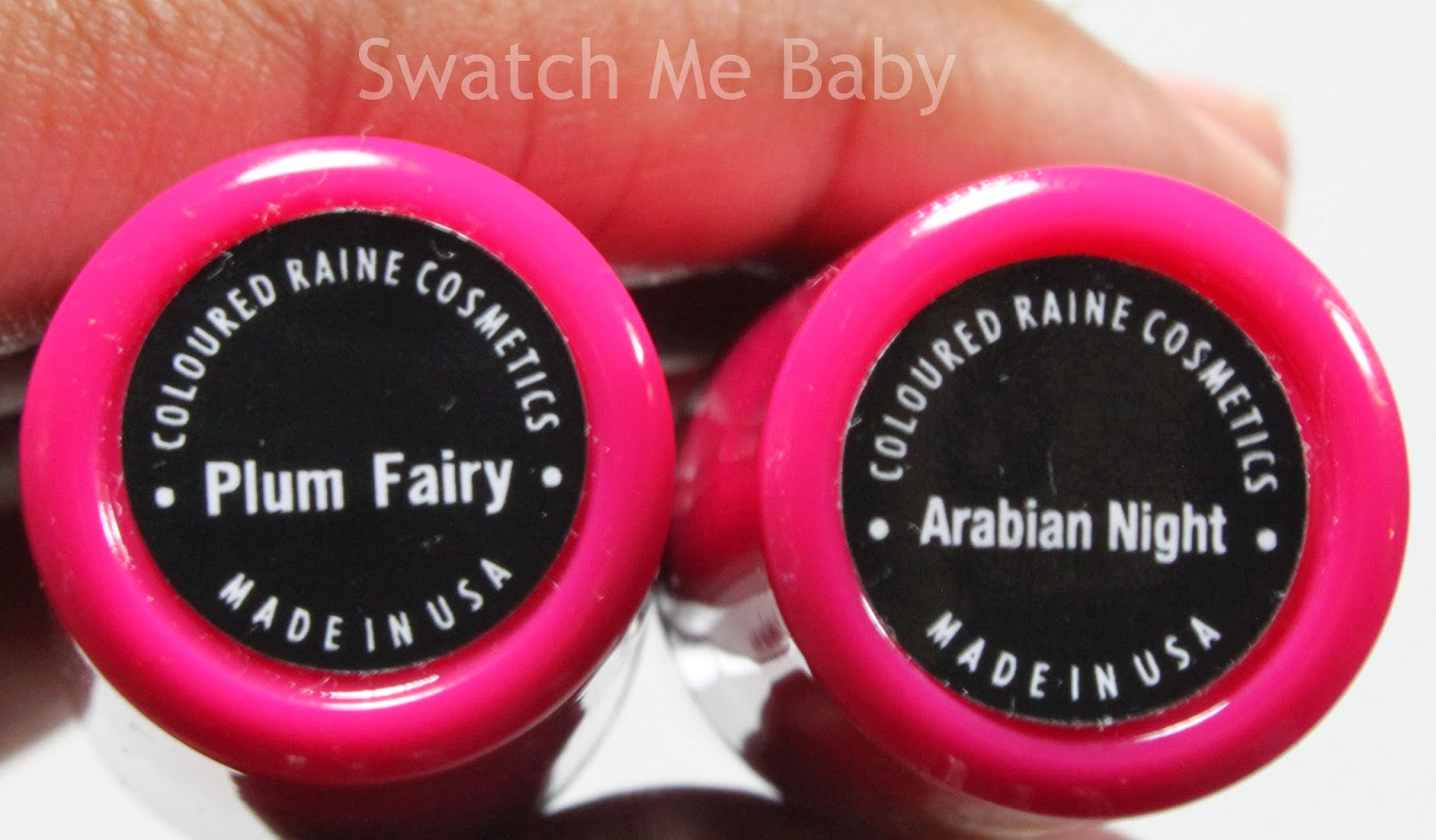 Coloured Raine Lipstick in Plum Fairy and Arabian Night Labels