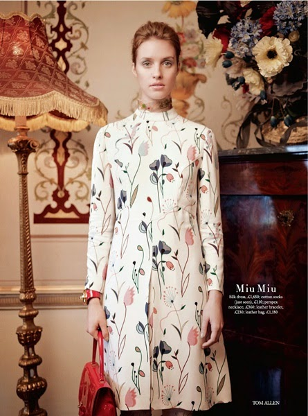 Miu Miu 2014 SS Floral Printed Crepe Dress