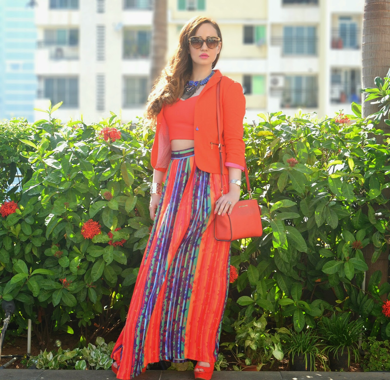 Nisha Sainani Orange & Striped Twinset at LFW