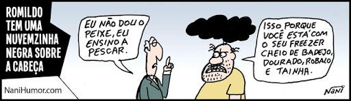 Tiras: Romildo tem uma nuvenzinha negra sobre a cabeça