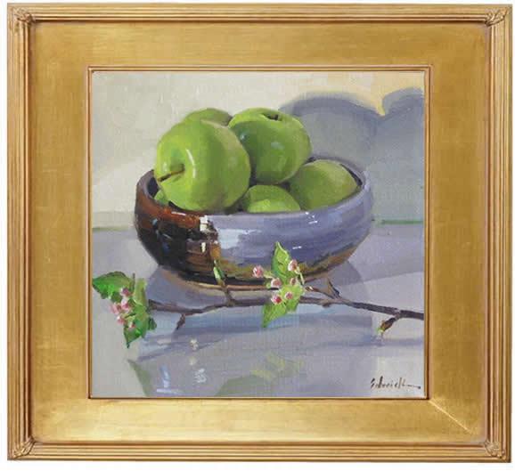 "Sedwick Studio Purple Bowl Of Plums Fruit Bowl Still: Sedwick Studio: ""Apple Bowl With Apple Blossoms"" Art Daily"