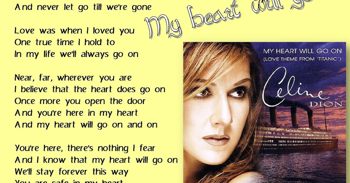 celine dion my heart will go on lyrics pdf