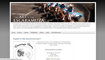 Directorypax The Art of the Escaramuza. Amazon Riderwww.amazonrider.com     Escaramuza is the femenine side of charreria, Mexico's national rodeo sport. Here you can find artists whose works focus on female horse riders, from photographers to dressmakers. Also find dates and locations of escaramuza fairs, teams and websites dedicated to this sport in Mexico and the U.S.