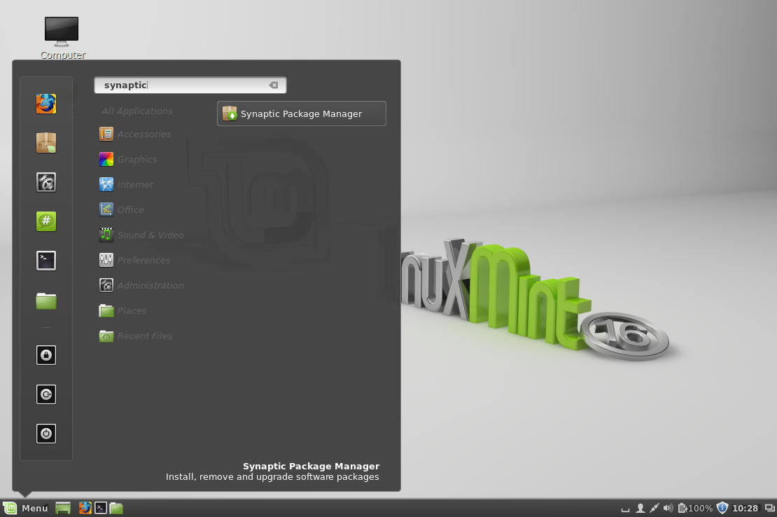 Linux Mint - Opening Synaptic Package Manager