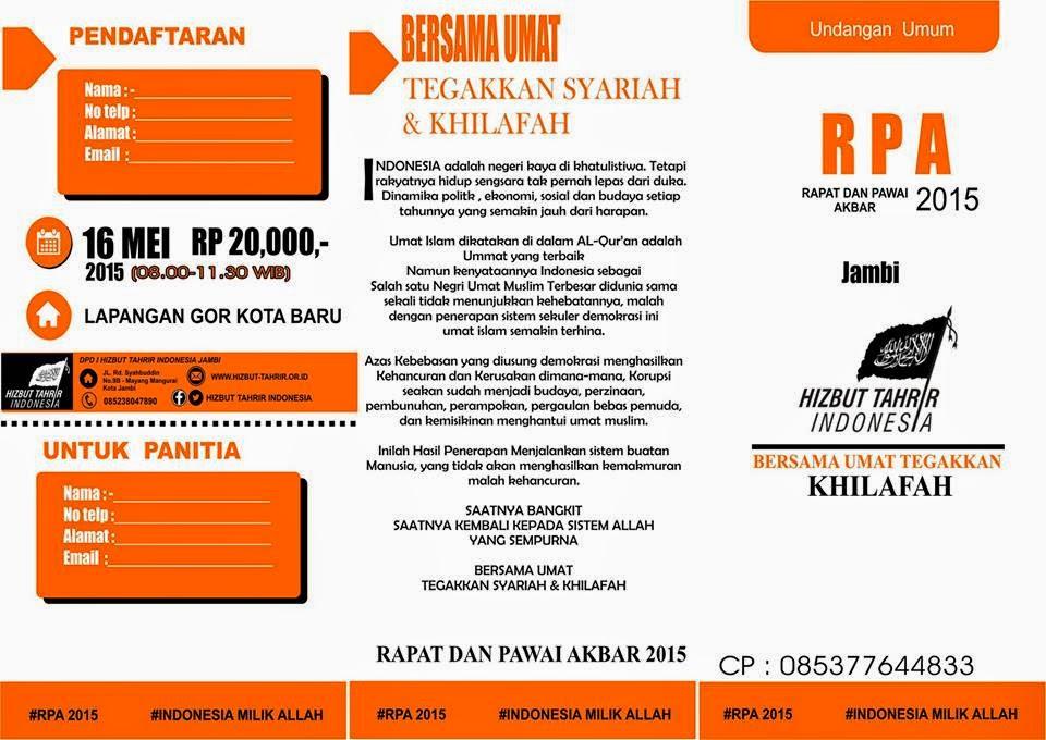 RPA JAMBI | 0853 77644 833 | RAPAT DAN PAWAI AKBAR | SABTU, 16 MEI 2015 | LAPANGAN GOR KOTA BARU | JAMBI | HTI | HIZBUT TAHRIR INDONESIA