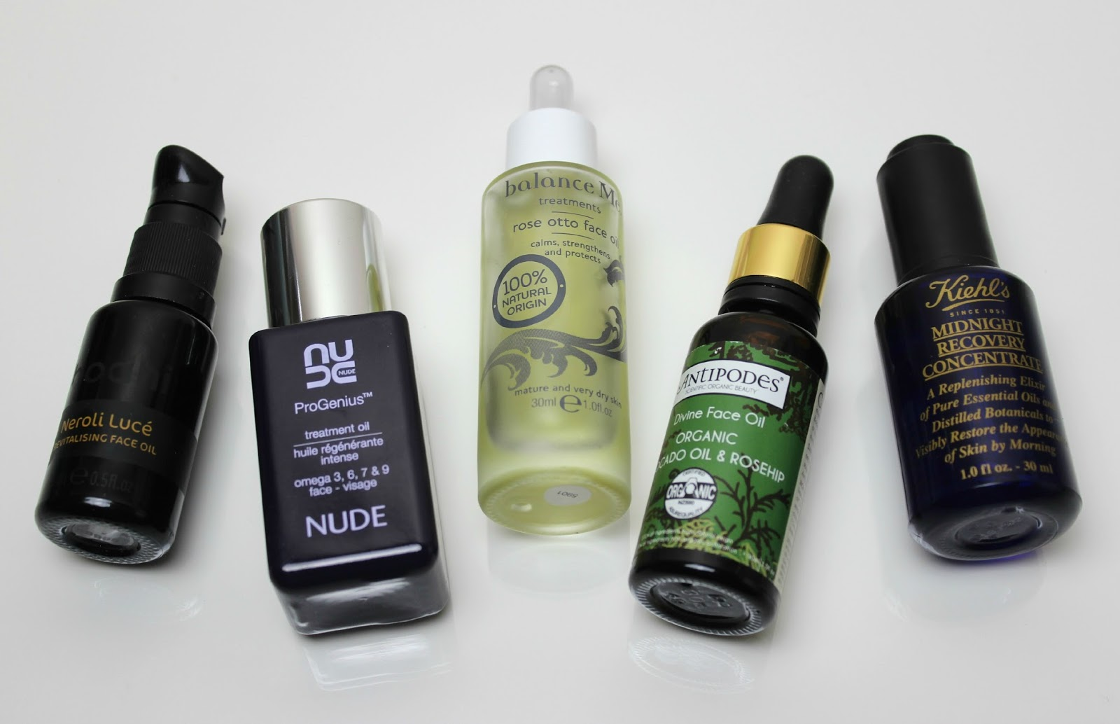 A picture of Bodhi & Birch Neroli Luce Revitalising Face Oil, Nude ProGenius Omega Treatment Oil, Balance Me Rose Otto Face Oil, Antipodes Divine Face Oil and Kiehl's Midnight Recovery Concentrate