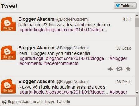 blogger twitter eklentisi ekran görüntüsü