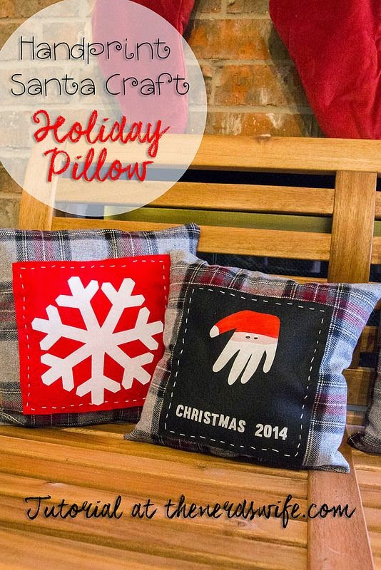 Handprint Santa Craft Holiday Pillow 12 Handprint Footprint Fingerprint Christmas Craft Gift Ideas | directorjewels.com