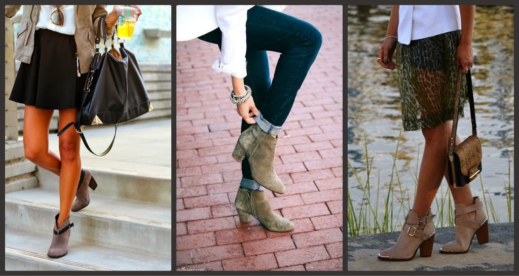 Ankle booties, taupe booties, how to wear, spring 2014 ankle bootie trend