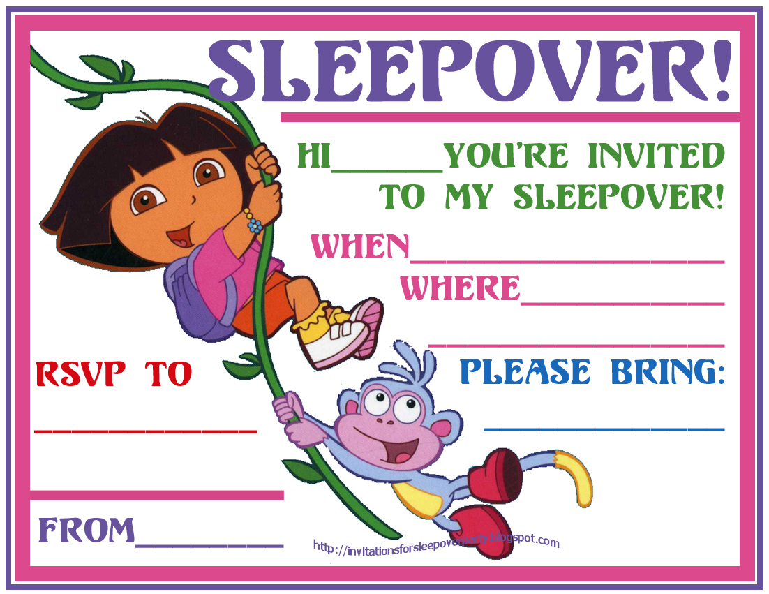 INVITATIONS FOR SLEEPOVER PARTY – Printable Dora Birthday Invitations