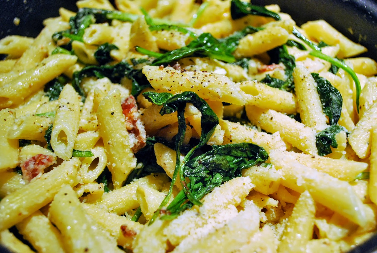 penne with mascarpone, spinach and pancetta