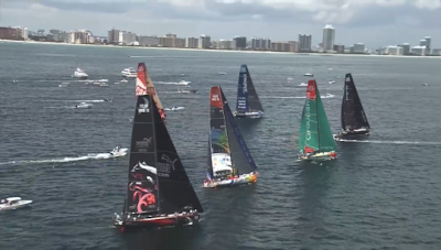 photo of Volvo Ocean Race start off Miami Beach