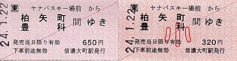 JR東日本 ヤナバスキー場前駅 常備軟券乗車券1 金額式