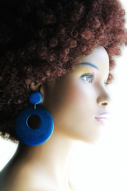 big blue african wood hoop earrings